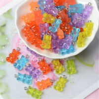 50Pcs Resin Cute Bear Mixed Color Pendant DIY Charms Keychain Making Necklace A+
