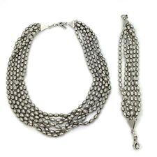 KC Jewelry Silver Tone Beaded Multi Strand Chunky Statement Necklace Bracelet