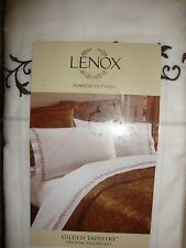 NEW LENOX GILDED TAPESTRY BROWN EMBROIDERED TWO KING PILLOWCASES