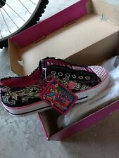 Skechers Twinkle Twirly Toes Shuffles Light Up Black rose sneakers Girls Size 7