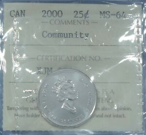 Canada 2000 - Nickel Quarter - (Community) Graded MS-65 by ICCS