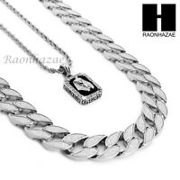 "MENS Iced CUBAN LINK 30"" CHAIN / KING-TUT PENDANT 24"" ROPE NECKLACE SET SS37"