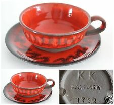 KNUD KYHN DANISH COPENHAGEN OWN STUDIO POTTERY ORANGE FAT LAVA CUP & SAUCER SIGN