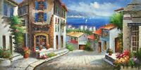 """Mediterranean Scene, Large 48""""x 24"""" Oil Painting on Canvas, Genuine Hand Painted"""