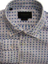 DUCHAMP LONDON Shirt Mens 15 S White - Blue Polka Dots SLIM FIT