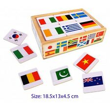 NEW Wooden Memory Game - Flags of the World