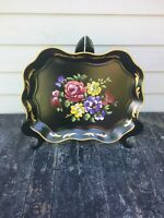 Vtg. NASHCO NY Hand Painted Tole Metal Serving Tray Toleware Very Good Condition