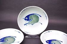Banawe of Toronto Canada Hand Painted Koi Blue Fish Porcelain Bowl Made In Japan