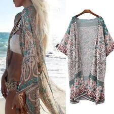 Womens Mandala Floral Beach Kimono Blouse Chiffon Cardigan Shawl Cover up Tops
