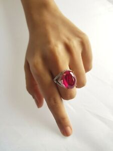 Red Oval Cabochon & CZ 925 Sterling Silver Split Shank Ring for Women Gift her
