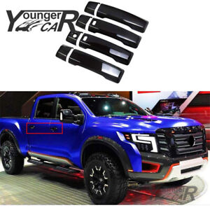 For 2016 2017 2018 2019 Nissan Titan Door Handle Covers Gloss Black w/2 Smart KH