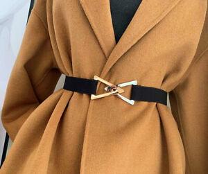 Womens Gold Silver Triangle Buckle Skinny Wide Elastic Adjustable Waist Belt UK