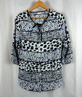 Antilia Femme Womens Stitch Fix Leopard Floral Shirt Blouse Top Sz M Medium