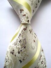 New Classic Paisley Beige Brown Yellow JACQUARD WOVEN 100%Silk Men's Tie Necktie