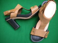 LADIES COUNTRY ROAD TAN LEATHER PLATFORM HEEL SHOES  SIZE 11/42