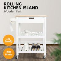 Kitchen Island Trolley Cart Wood Top Storage Drawer w/ Wine Rack & Shelf White