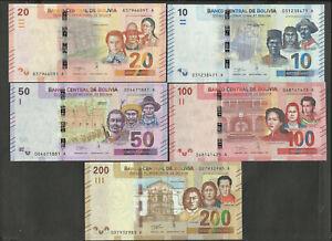 BOLIVIA 2019   5 BANK NOTES UNUSED COMPLET SET !! OFFERT !!
