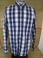 GUESS JEANS Men dress shirt PLAID long sleeve pit to pit 24 slim fit cotton   XL