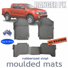 To suit Ford Ranger PX PX2 Dual Cab 2011-2018 Genuine 3D GREY Rubber Floor Mats