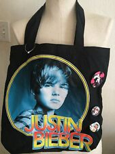 Justin Bieber Tote Bag with three lapel -hat, pins, buttons