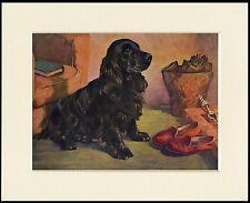 COCKER SPANIEL DOG BY FIRE WITH MASTERS SLIPPERS PRINT MOUNTED READY TO FRAME