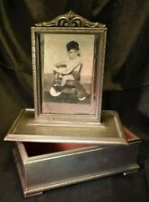 Antique VTG Painted Wood Jewelry Trinket Box W/Photo Display removable Lid