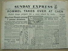 SUNDAY EXPRESS WWII NEWSPAPER JULY 2nd 1944 ROMMEL MASSES HIS TANKS AT CAEN