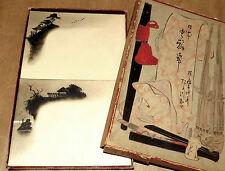 nécessaire de correspondance Japon XIXème dessins originaux à l'encre de Chine