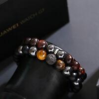 Mens Natural Red Tigers Eye Onyx Lava Stone Hematite Beaded Bracelet Jeweley Set