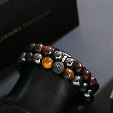 Mens Bracelets Black 10MM Tigers Eye Onyx Lava Stone Hematite Beaded Bracelet
