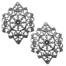 Antiqued Silver Plated Ornate Filigree Flower Pendant 36.5x28mm (2 Pieces)