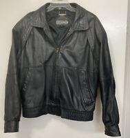 Vintage 1990s Members Only Leather Jacket Bomber Coat Black Sz 44 Hard_8s_Magic