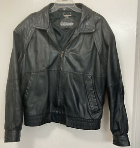 Vintage 1990s Members Only Leather Jacket Bomber Coat Black Sz 44 Hard_8s_Magic