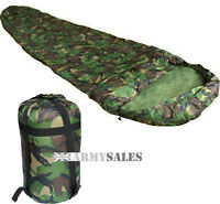 DPM Woodland 3 Season Nylon Shell Military Sleeping Bag with Compression Sack