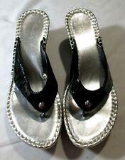 Donald J Pliner Casee Black Patent Flip Flop Thong Wedge Sandal US 9.5M Nice