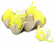 Crate Of 6 Half Dozen Hanging Easter Egg Decorations In An Egg Box ~ Yellow