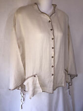 KLEEN Ramie Ribbon Pocket Lagenlook Kimono Jacket Shirt Top Mushroom Beige L NWT