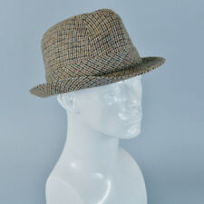 "Vintage Men's Brown Wool Blend Fedora Trilby Hat Mad Men Medium 56cm 22"""