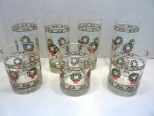 Lot of 7 Vintage Glass Christmas Wreath Tumblers~Drinking Glasses ~Weighted
