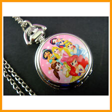 Princess Belle Aurora Women Ladies Girl Fashion Pocket Pendant Necklace Watch