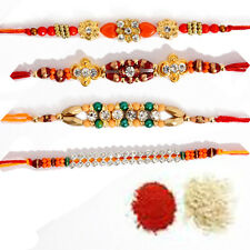 4 Fancy Rakhi Rakhee Raksha Bandhan Shubh Tikka (4 Rakhi) UK USA INDIA WORLDWIDE