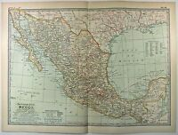 Original 1902 Map of Mexico by The Century Company. Antique