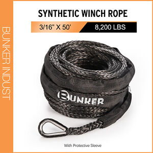 """BUNKER INDUST Synthetic Winch Rope 3/16"""" x 50',8200lbs Winch Rope Recovery Cable"""