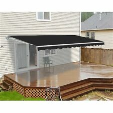 ALEKO Refurbished 10 X 8 Ft Retractable Home Patio Canopy Awning Black Color