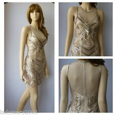 BNWT Miss Selfridge Nude Vintage Embellished 20's Gatsby Dress Size UK 12