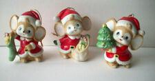 3 Homco Christmas Santa Mice Ornaments #5252 Bisque Porcelain