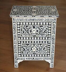 Handmade Bone Inlay Wooden Modern Floral Pattern Bedside/Sidetable/Nightstand