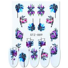 Nail Art Water Decals Stickers Transfers Purple Blue Exotic Flowers Floral (889)