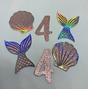 6 Custom Personalised Age Mermaid Tail Shell Birthday cupcake Toppers Glitter
