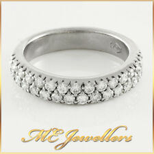 Ladies Solid White Gold 0.90ct TDW Diamond Wedding Ring 18k 18kt 18ct Sz M, 5.7G
